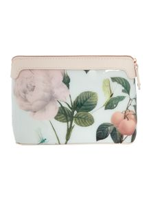 Green large floral print costmetics bag