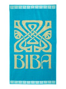 Biba Large Logo Beach Towel in Turquoise