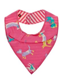 Baby girls reversible cats & dogs print bib