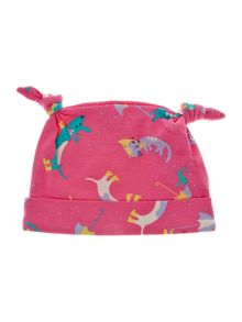 Baby girls cats & dogs print hat