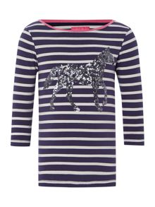 Girls long sleeve horse stripe top