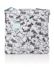 Cherry blossom dog grey medium ziptop crossbody