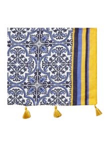 Tile print with tassels scarf