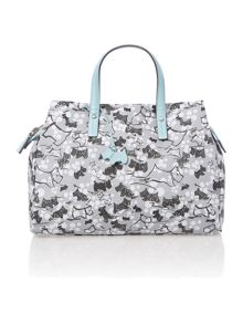 Cherry blossom dog grey medium crossbody tote bag