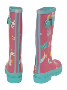 Girls cats & gogs print wellies