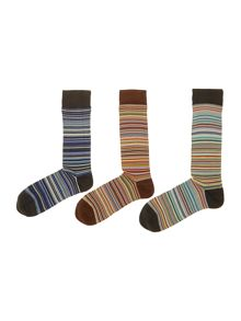 Paul Smith London 3 Pack Multistripe Sock