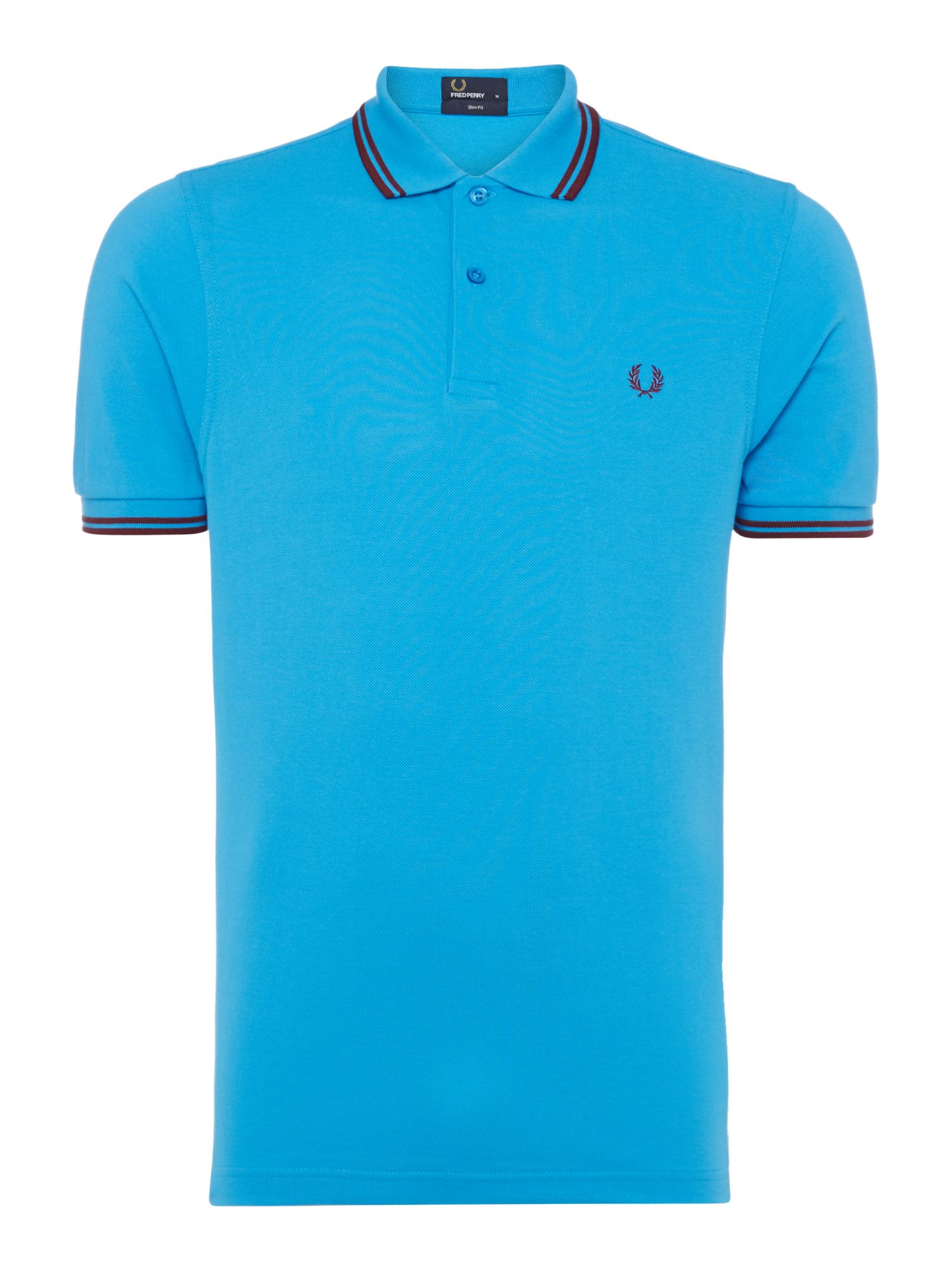 Mens Fred Perry Twin tipped SLIM fit polo shirt Light Blue