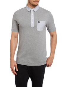 Woven trim collar slim fit polo