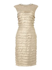 Beaded neck detail shutter dress