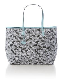 Cherry blossom dog grey large ziptop tote bag