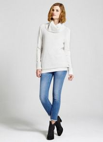 Ecru Contrast Stitch Knit