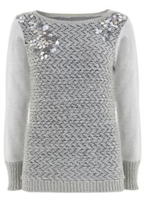 Grey Cluster Bead Knit