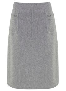 Silver Grey Flannel A-Line Skirt