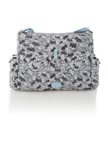 Cherry blossom dog grey large crossbody baby bag