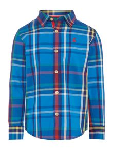 Boys long sleeve print checked shirt