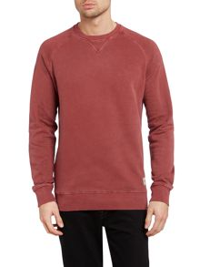 Men`s plain garment wash crew sweat