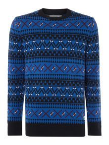 Jack & Jones Men`s all over fairisle knit