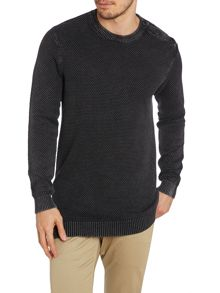 Men`s crew button neck acid wash knit
