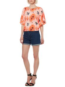 Bright splash print wide sleeve top