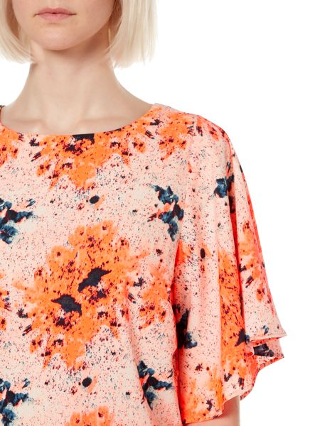 Therapy Bright splash print wide sleeve top