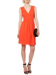 Bright solid wrap woven dress