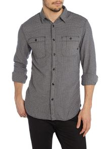 Men`s long sleeved mini check flannel shirt