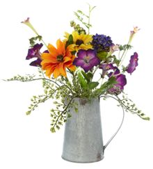 Dickins & Jones Galvanised Jug with Purple & Orange Flowers