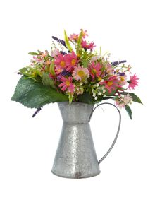 Dickins & Jones Galvanised Jug with Wild Pink Flowers