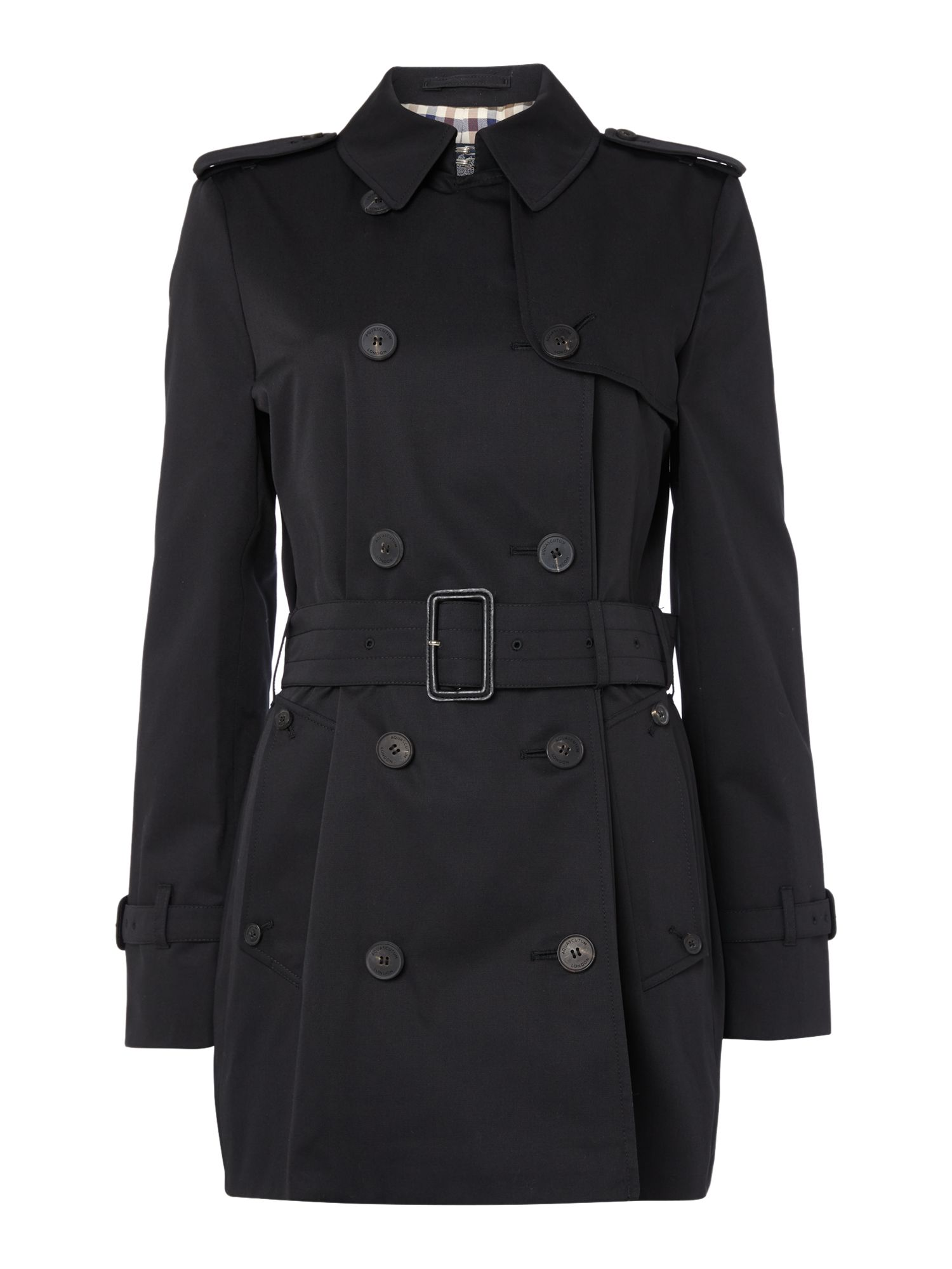Aquascutum Jennifer Double Breasted Raincoat, Black