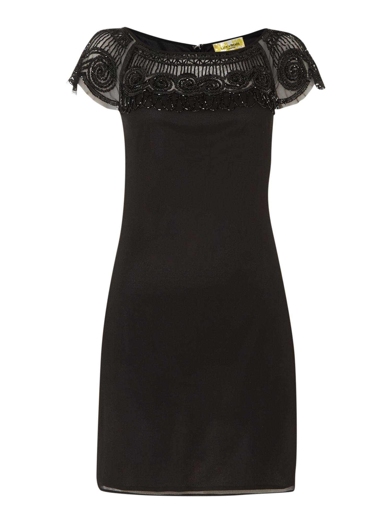 Lace and Beads Lace and Beads Cap sleeve embellished shoulder shift dress, Black