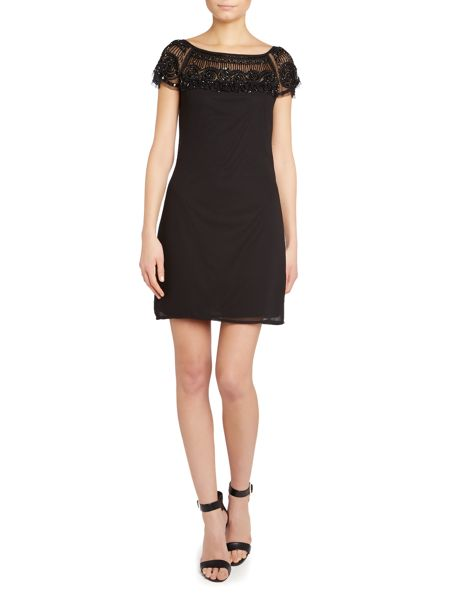 Lace and Beads Cap sleeve embellished shoulder shift dress