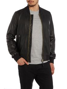 Zip up leather bomber