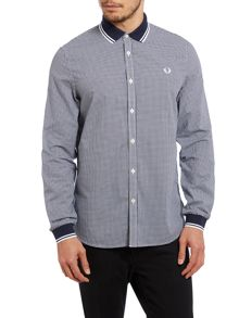 Long Sleeve Gingham With Contrast Collar Shirt