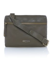 Sapiston green ziptop leather xbody bag