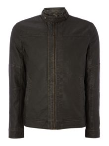 Mens PU leather biker jacket