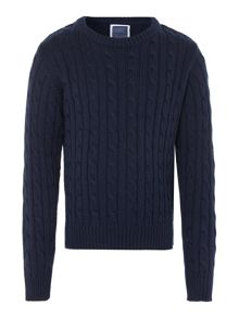 Boys Pantone cable crew neck jumper