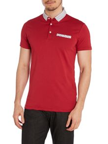 Mens contrast print polo shirt