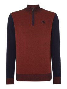 Jumper sportzip in melange knit.Fine gauge
