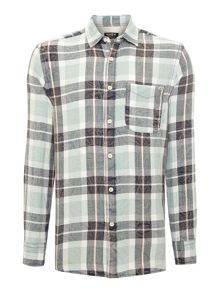 Mens Grid Checked Flannel Shirt