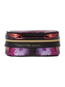 Black and pink floral jewellery case