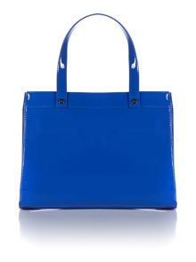 Blue small patent tote bag