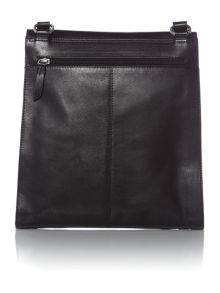Border black large flap over crossbody bag