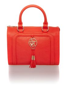 Red large eco saffiano tote bag