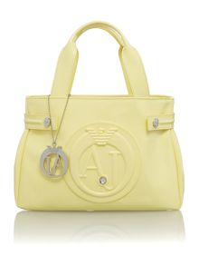 Yellow small patent tote bag