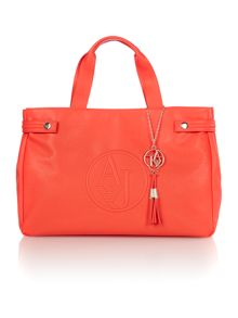 Red large saffiano tote bag