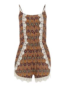 Crochet detail print playsuit