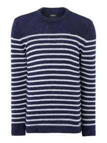 Striped knitted crew