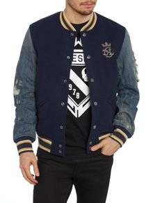 Baseball denim sleeve jacket