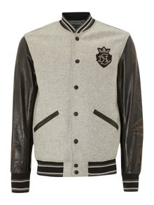 Leather sleeve baseball jacket
