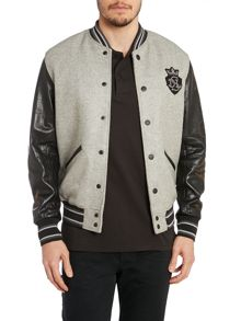 Diesel Leather sleeve baseball jacket